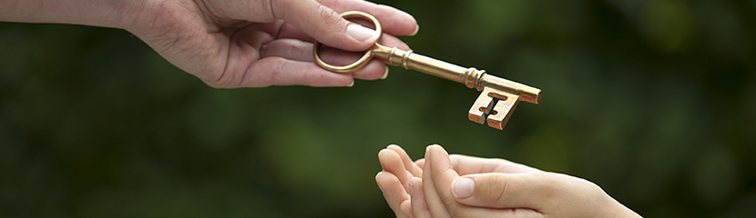 Two Hands handing over Key Image